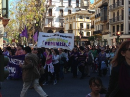 We caught a demonstration by the Feminist Revolution and other equity groups.
