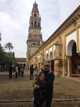 Momo and me in the courtyard of the Cathedral