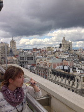Enjoying wine at the top of Circulo de Bellas Artes.....see blog post eighty eight for that story.