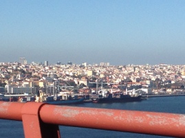 view of Lisbon from the bridge